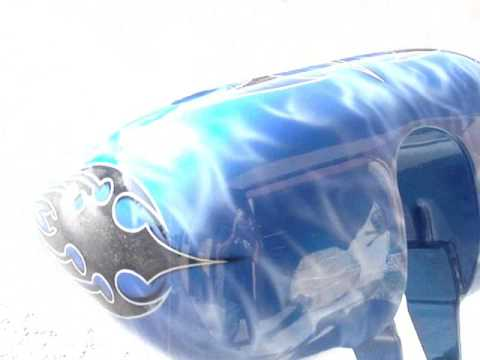 motorcycle custom paint by manuel m guerrero oriental blue tribal graphics
