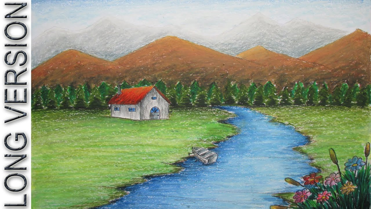 Beginners Mountain Landscape Drawing with Oil Pastel [LONG ...