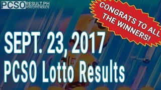 PCSO Lotto Results Today September 23, 2017 (6/55, 6/42, 6D, Swertres & EZ2)