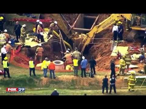 Trench rescue underway in Greenbelt, Maryland after a worker reportedly became trapped