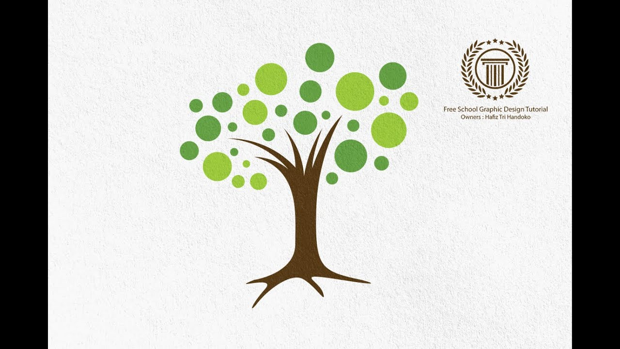 Circle Leaf Tree Logo Design Tutorial - how to design a ...