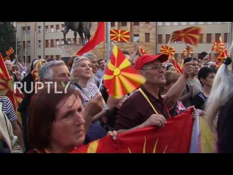 Macedonia: Protesters decry formation of pro-Albanian govt. outside parliament