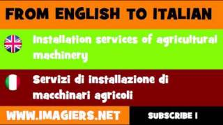 FROM ENGLISH TO ITALIAN = Installation services of agricultural machinery