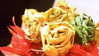 Как из кленовых листьев сделать розы. Букет светится в темноте.