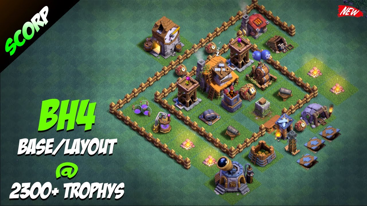 Stream clash of clans bh4 builder hall 4 base layout Best builder house 4 base