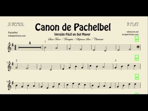 Pachelbel Canon Easy Sheet Music for Trumpet Soprano Saxophone Tenor Saxophone and Clarinet