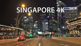 Singapore 4K - Night Drive - Driving Downtown