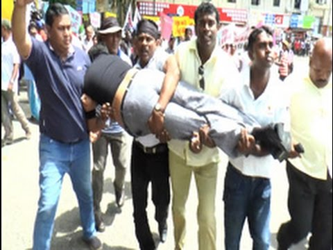 Rohitha Abeygunawardena injured during Joint Opposition protest
