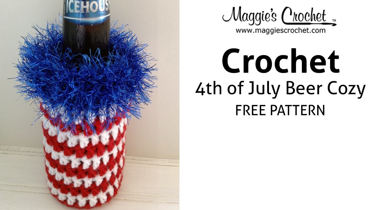 Patriotic Beer Cozy Free Crochet Pattern Right Handed Youtube