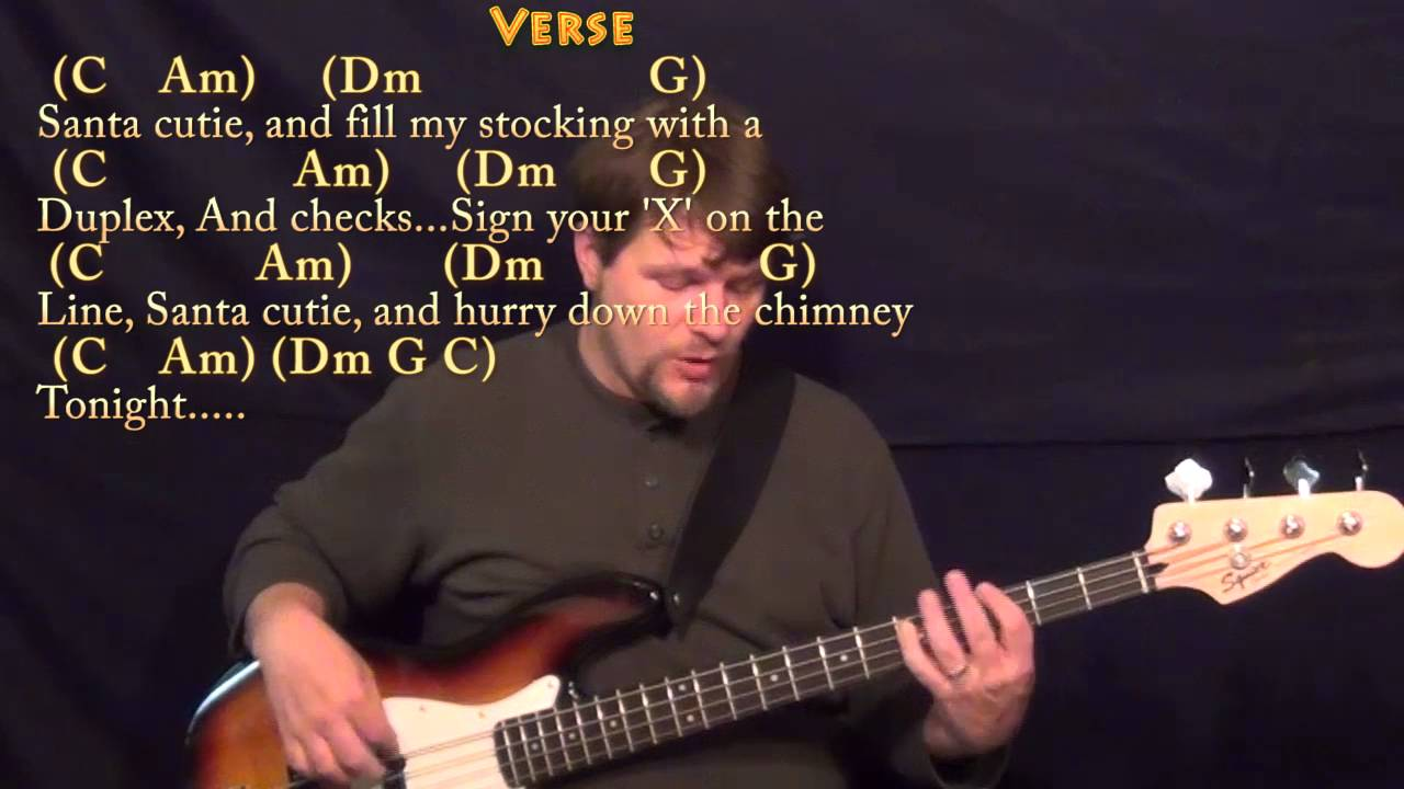 Santa Baby Bass Guitar Cover Lesson In C With Chordslyrics Youtube