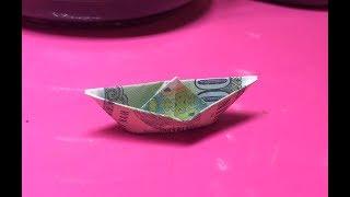 Cách gấp thuyền bằng tiền giấy / origami money boat