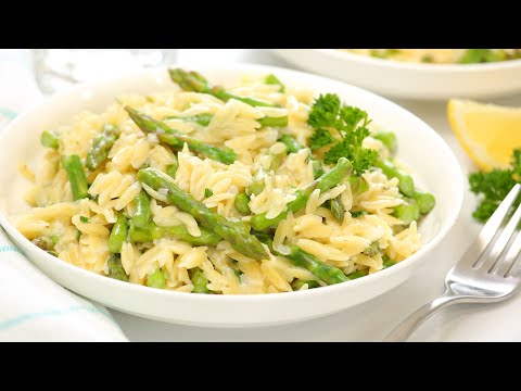 Creamy Orzo with Asparagus   One Pot + Family Friendly Dinner Recipe!