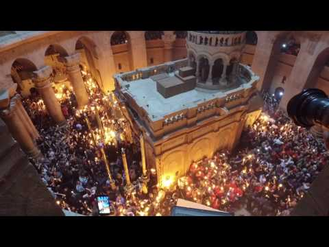 Holy Fire Miracle of Jesus April 15, 2017 in Jerusalem at Holy Sepulchre Chapel. Easter Celebration