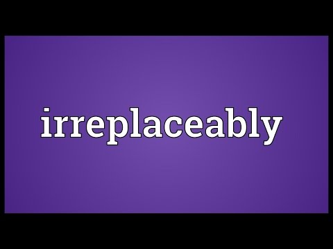 Irreplaceably Meaning