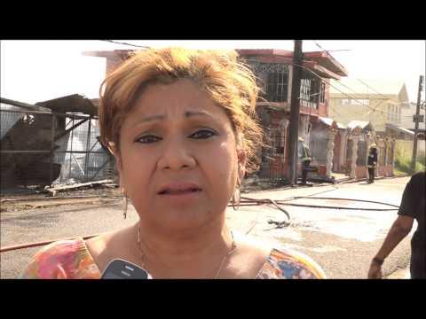 7 Homeless as fire Guts 2 houses on Leotaud St. San Fernando. 11/04/2015 - Trinidad & Tobago