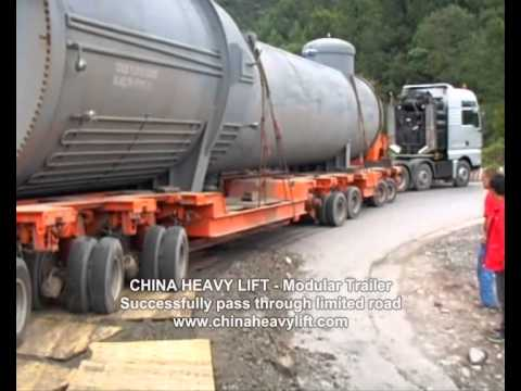 CHINA HEAVY LIFT Modular Trailer transport 146 ton reaction tower on limited road