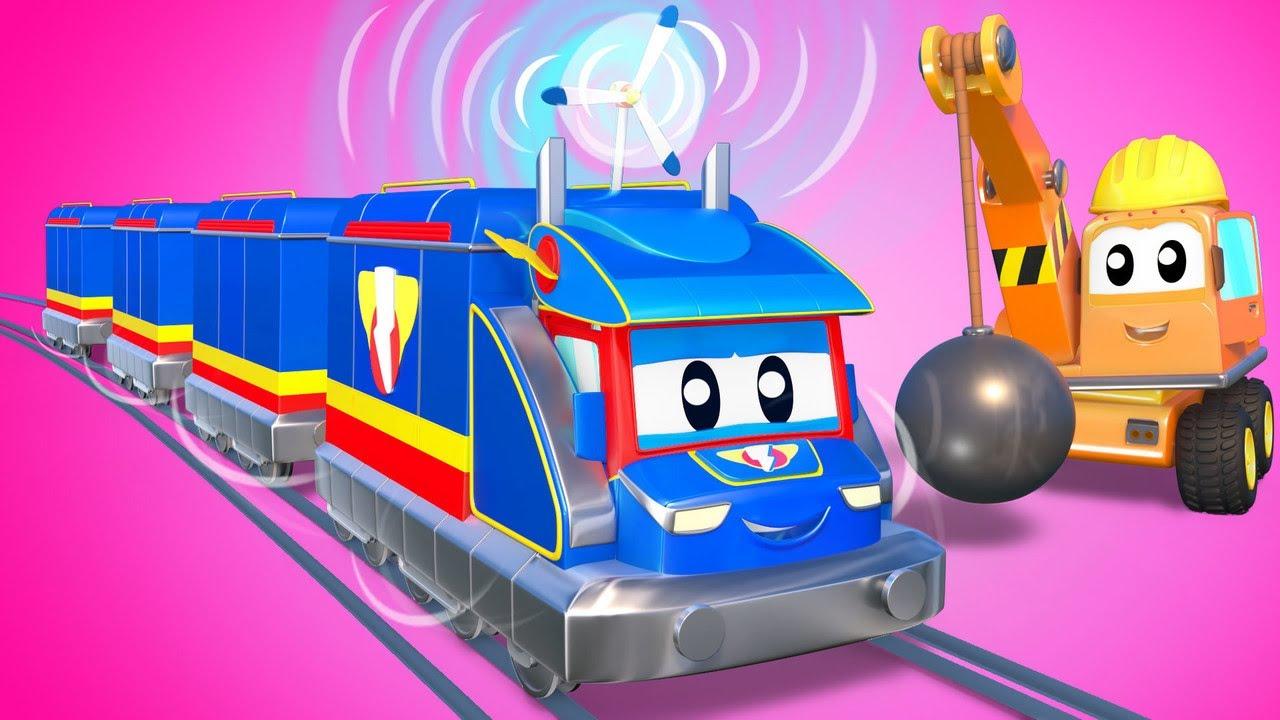 SUPER TREM produz ELETRICIDADE com TURBINA - Cidade do Carro - Desenhos animados infantis