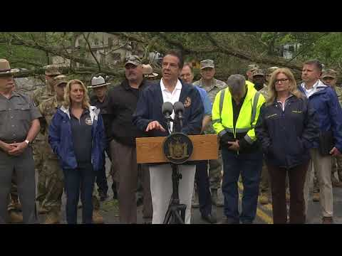 Gov. Andrew Cuomo discusses storm recovery in a press conference Wednesday in Putnam Valley.