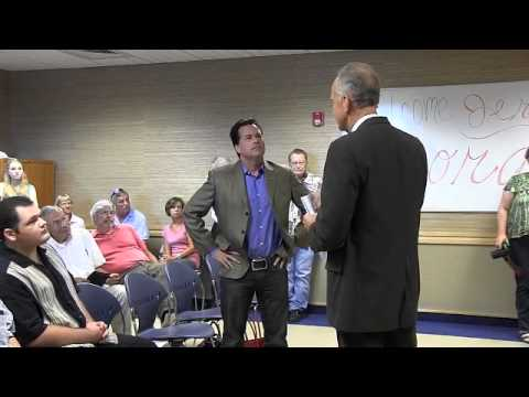 Sen. Jerry Moran interrogated by Milton Wolf at a townhall on Aug. 10, 2015