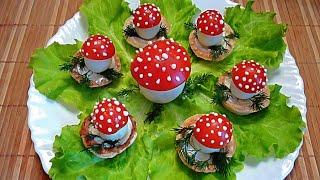 Грибы из помидор и яиц! Украшения из овощей! Mushrooms of tomato and eggs!