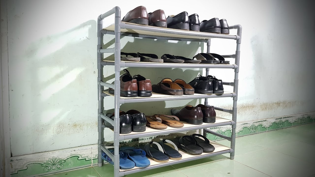 How To Make Shelves For Shoes Using PVC Pipe - YouTube