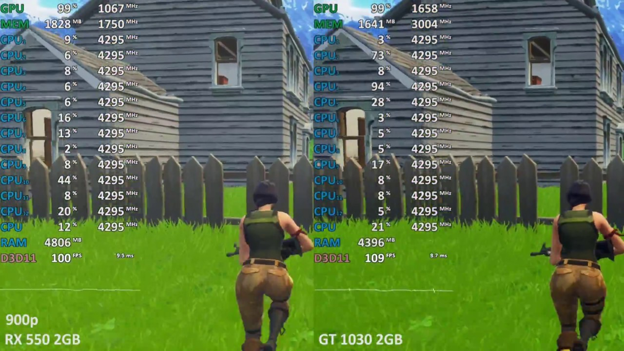 GeForce GT 1030 vs  Radeon RX 550 in Fortnite: Battle Royale  900p, 1080p,  1440p