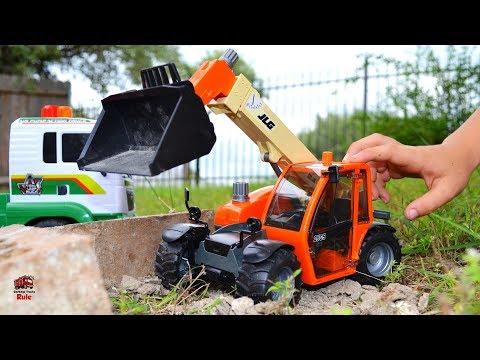 Unboxing Bruder JLG Telehandler Truck l Backyard Play Time  l Garbage Truck Videos For Children