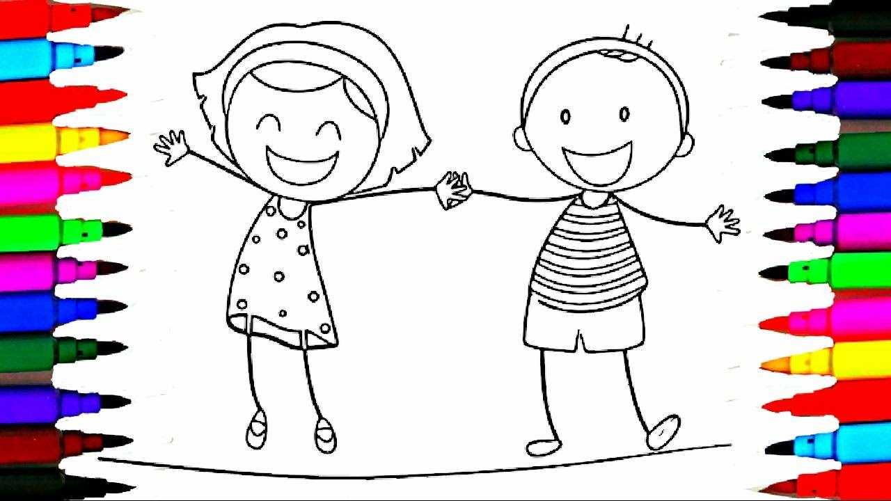 school girl and boy coloring pages l happy kids drawing coloring