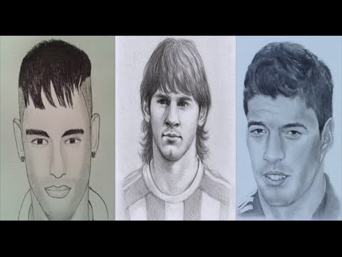 How to Draw Messi, Neymar And Suarez !! - YouTube