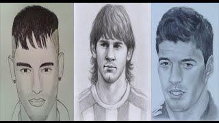 How to Draw Messi, Neymar And Suarez !!
