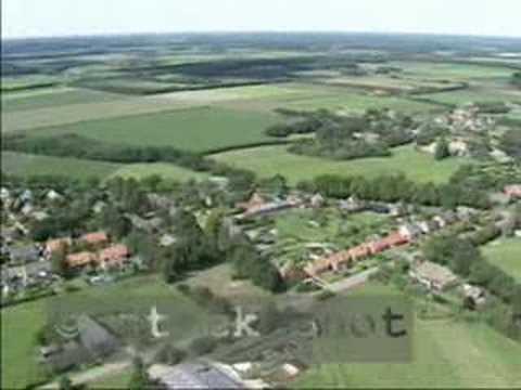 Aerial shots village in Dutch landscape