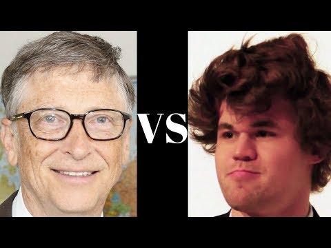 Bill Gates vs Magnus Carlsen - Celebrity blitz Chess game! - Magnus Carlsen wins in just nine moves!