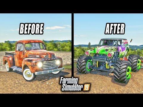 OLD TRUCK BUILD! TURNING A RUSTY F-100 INTO THE GRAVE DIGGER MONSTER TRUCK! | FARMING SIMULATOR 2019