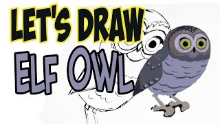 Drawing Elf Owl from Wild Kratts! (Basic shapes and lines)