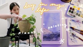 day in my life vlog: potting plants, painting, catching up with life :)