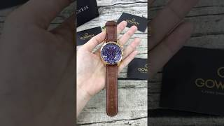 GUESS Men's Stainless Steel Casual Leather Watch, Color: Rose Gold-Tone/Brown U0500G1