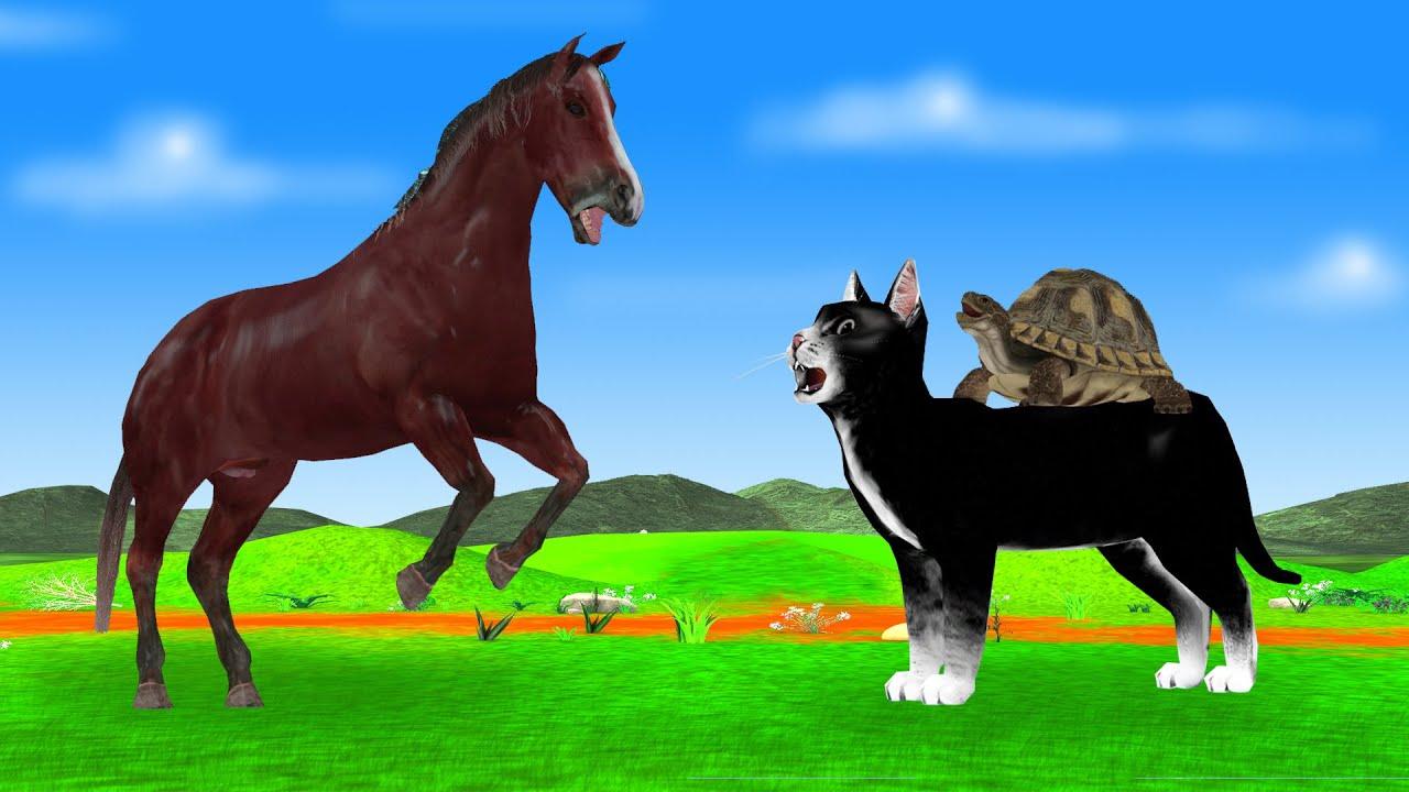घोड़ा और चतुर कछुआ बिल्ली की दोस्ति नैतिक कहानी 3d Animated Stories In Hindi - Panchatantra Stories