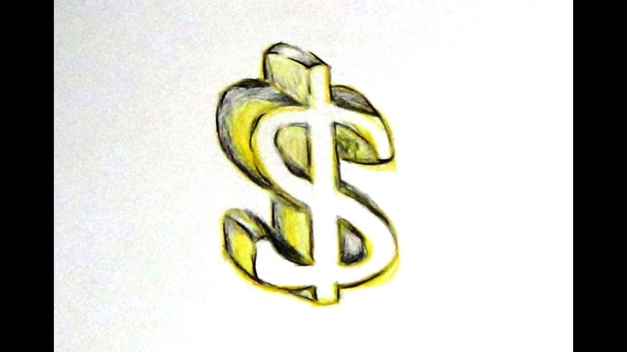 How To Draw And Color A Dollar Sign Cartoon 3d Dollar Youtube