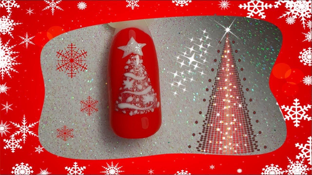 Foto Alberi Di Natale Bianchi christmas nail art tutorial albero di natale bianco / white christmas tree
