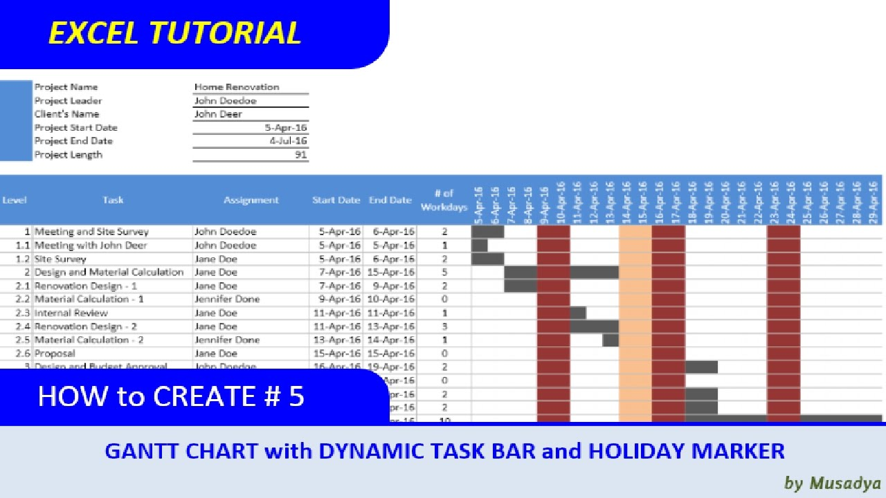 Simple method to create excel gantt chart with dynamic task bar and simple method to create excel gantt chart with dynamic task bar and holidays marker nvjuhfo Images
