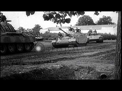 German tanks attacking Soviet-allied forces during World War II on eastern front HD Stock Footage