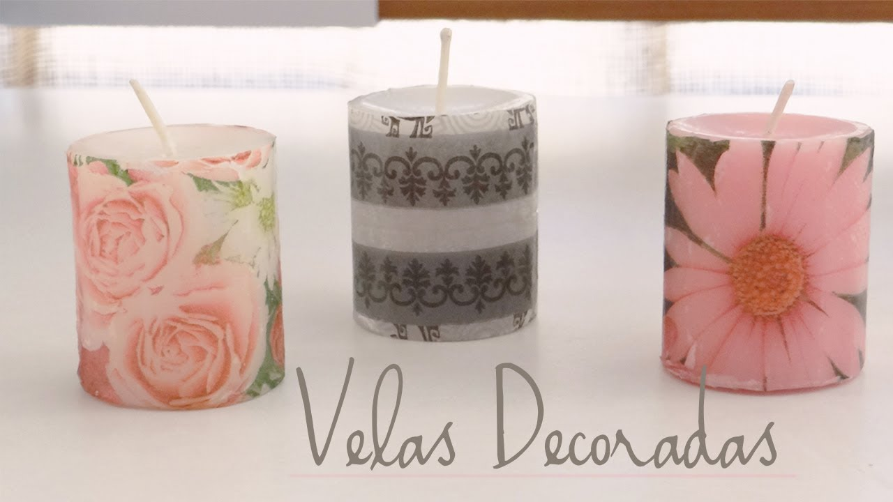 Decoraci n de velas con servilletas youtube for Decoracion con papel