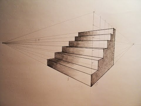 How to draw - Two point perspective - stairs - tutorial