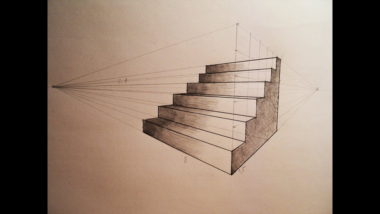 How to draw - Two point perspective - stairs - tutorial ...
