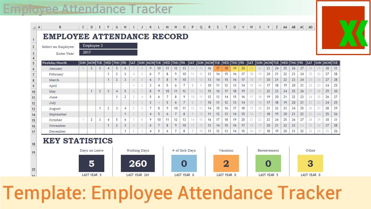 excel template employee attendance tracker youtube. Black Bedroom Furniture Sets. Home Design Ideas