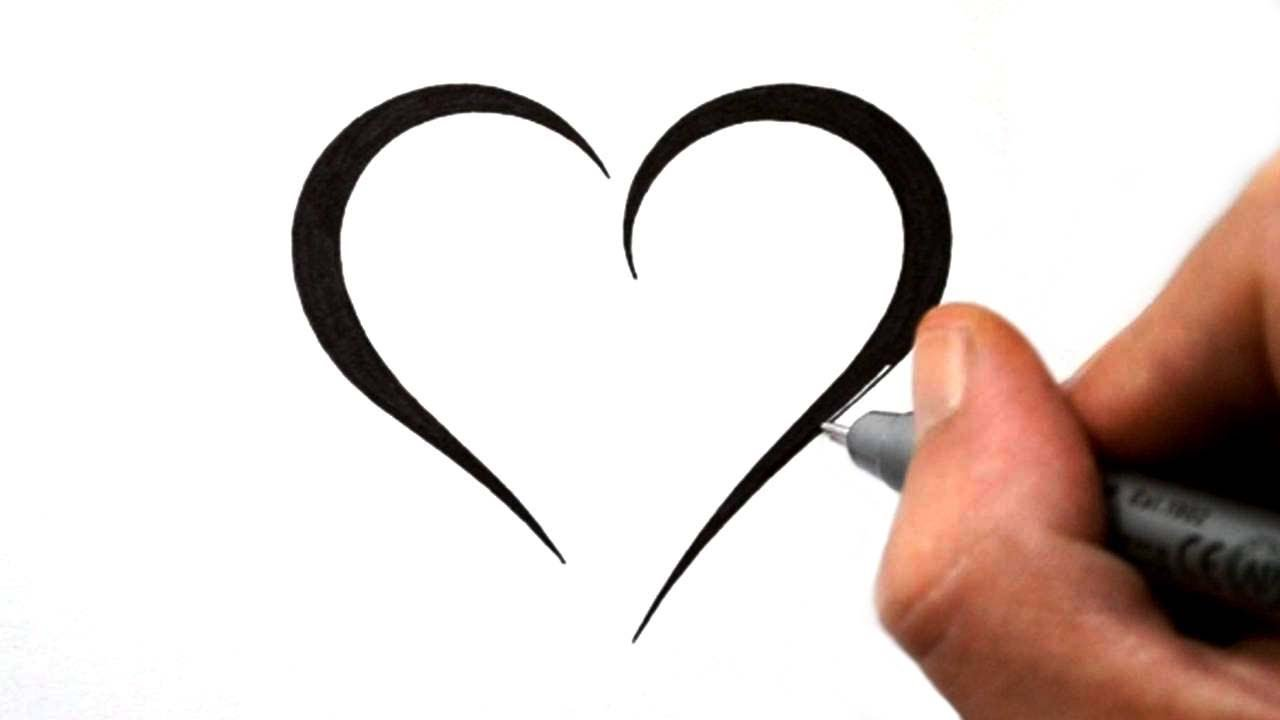 Simple Heart Line Art : How to draw a simple tribal heart tattoo design youtube