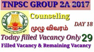 TNPSC GROUP 2A 2017 COUNSELING DAY 18 !!!!!!!FILLED AND AVAILABLE VACANCY FULL DETAILS