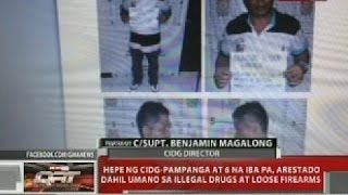Hepe ng CIDG-Pampanga at 6 na iba pa, arestado dahil umano sa illegal drugs at loose firearms