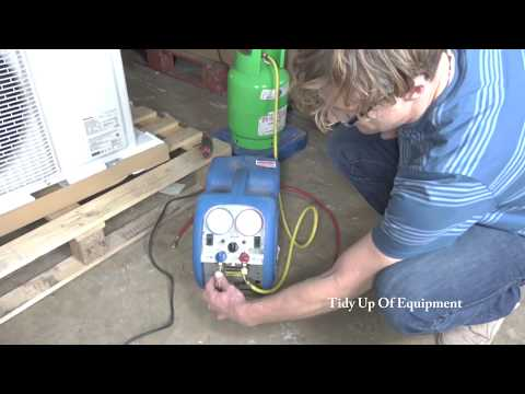 Reclaiming Refrigerant Gas From A Panasonic Air Conditioning Unit R410a With A Mini-Max Reclaim Unit