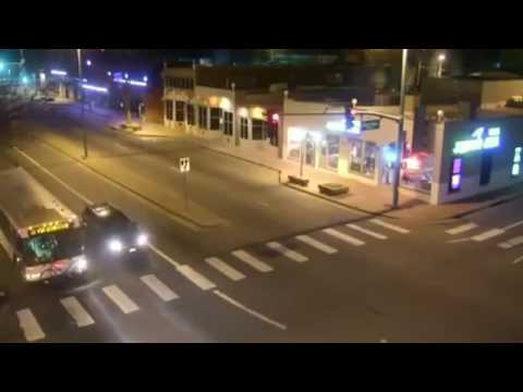 Incredible crash with pole caught on cctv - Police chase